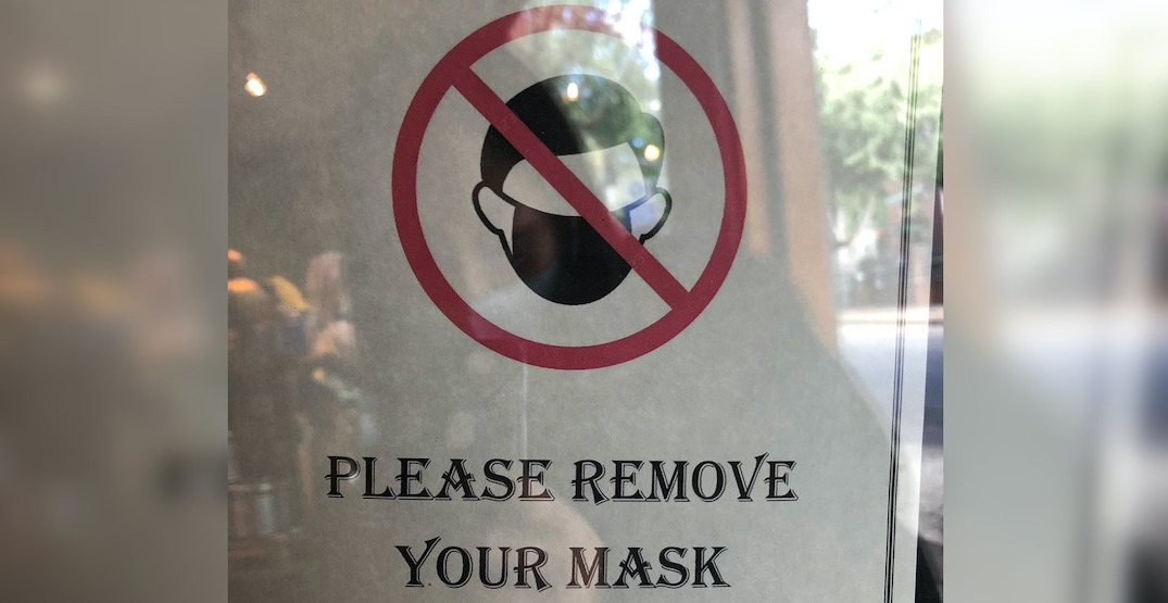 A tea shop in Fremont asked patrons to remove their masks upon entering