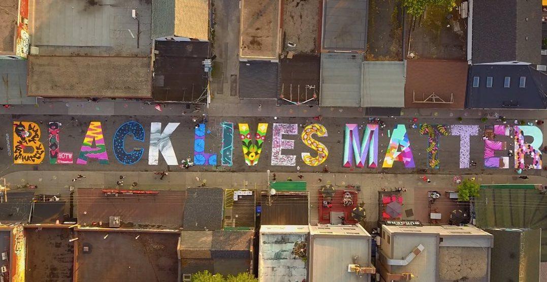 Giant Black Lives Matter message painted on Kensington Market street