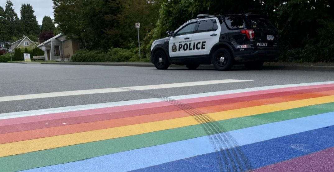 Pride crosswalk defaced outside of West Vancouver police station
