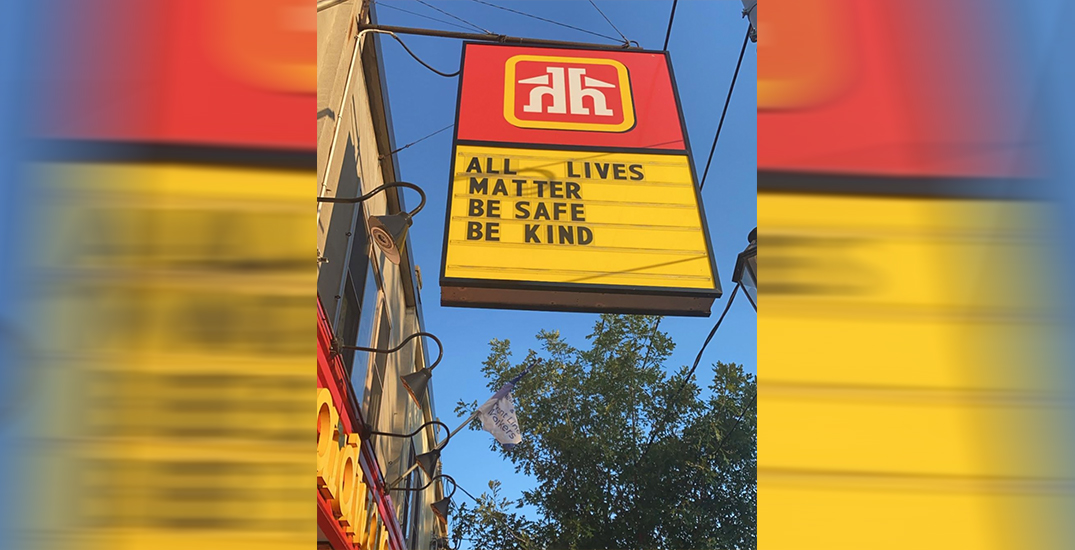 "Toronto Home Hardware store apologizes after posting ""All Lives Matter"" sign"