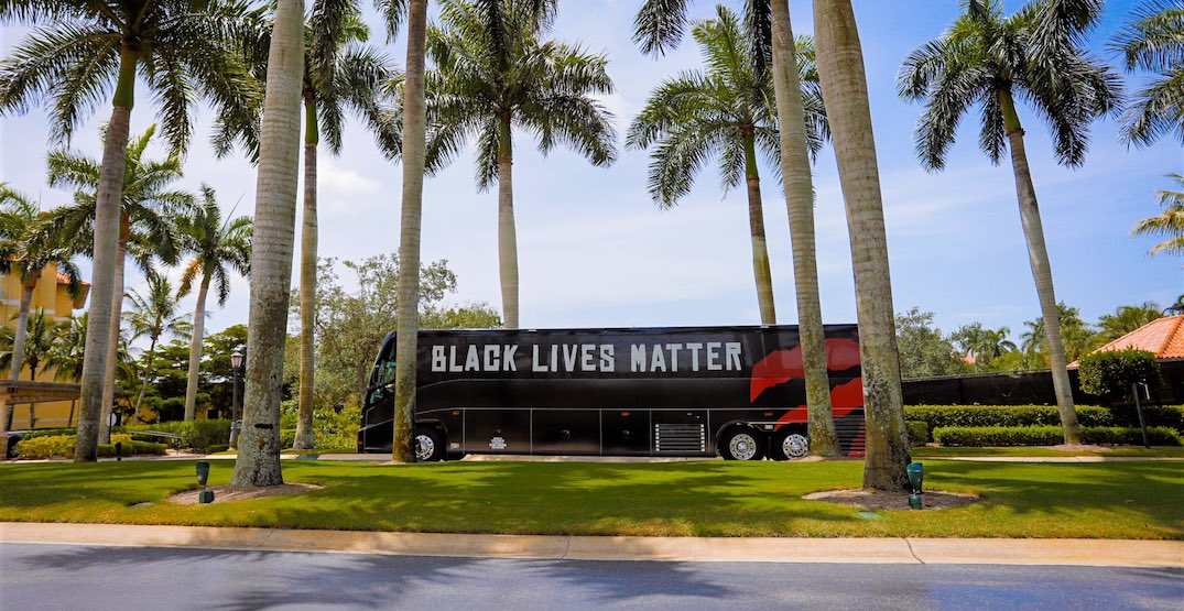 Toronto Raptors roll into NBA bubble in Black Lives Matter buses (PHOTOS)