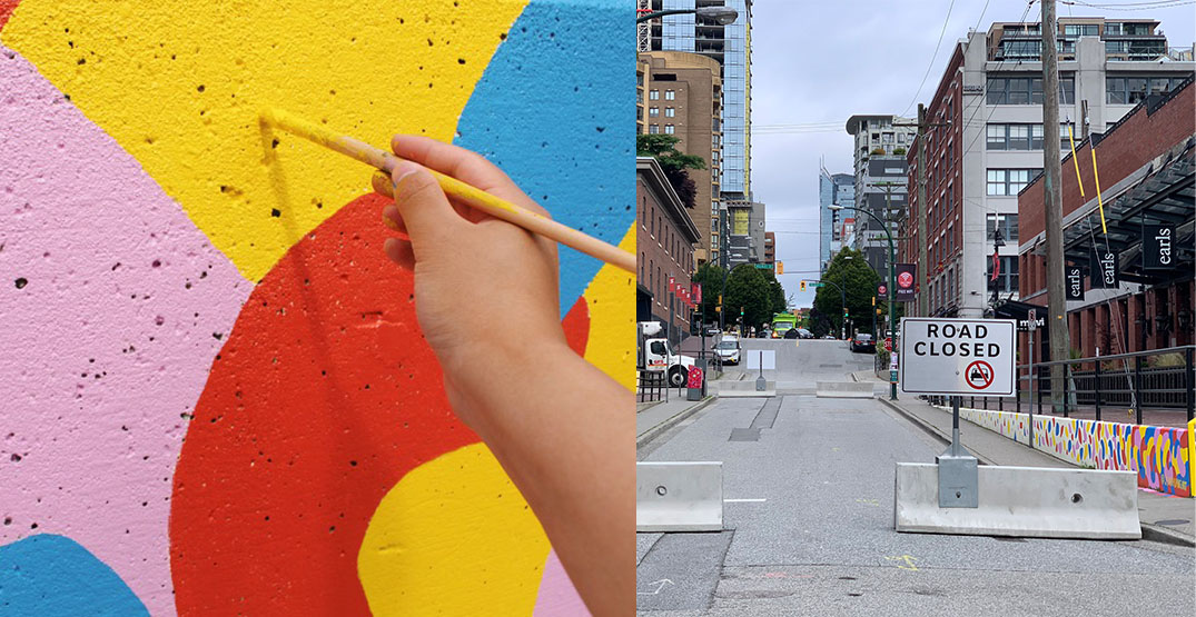 New Yaletown street plaza features cool mural by local artist