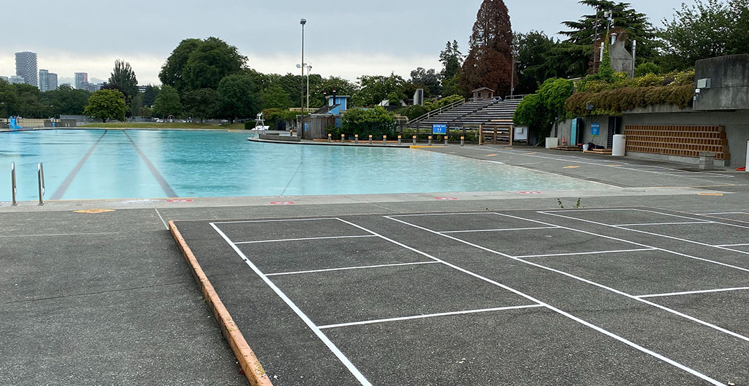 Vancouver's outdoor pools have new physical distancing boxes on deck
