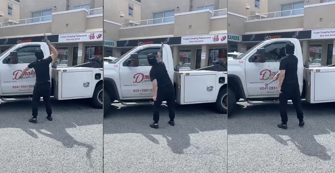 Man smashes truck window with hammer during towing dispute (VIDEO)