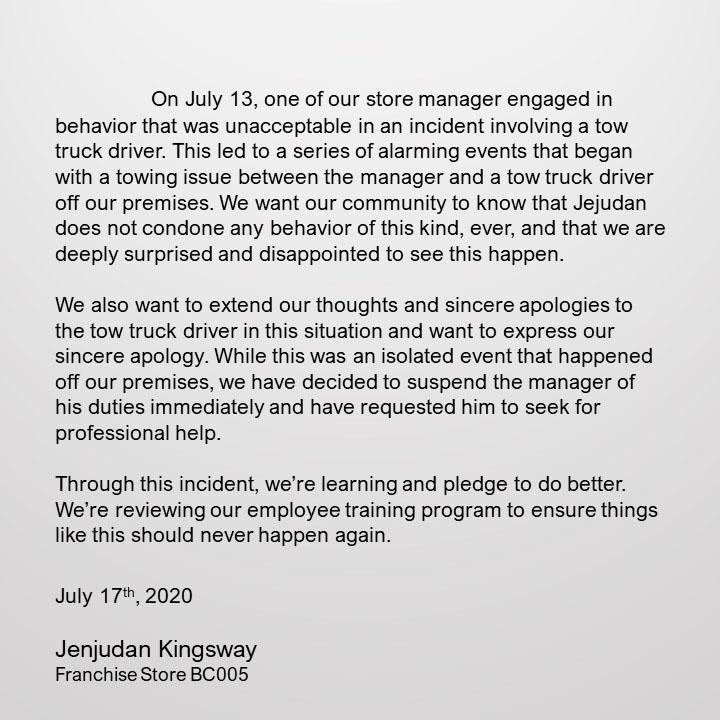 Jenjudan Kingsway statement