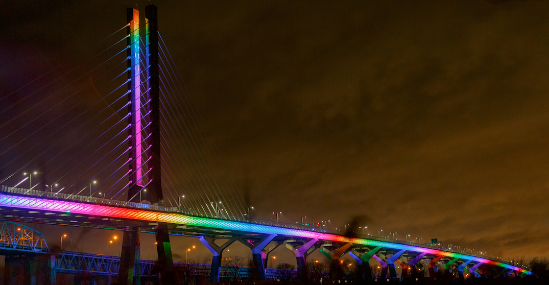 Champlain Bridge will light up in rainbow colours for the rest of the month