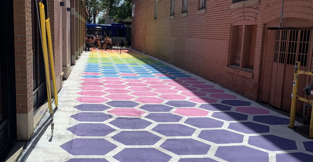 """Whyte Avenue gets a pop of colour with """"Rainbow Road"""" mural"""