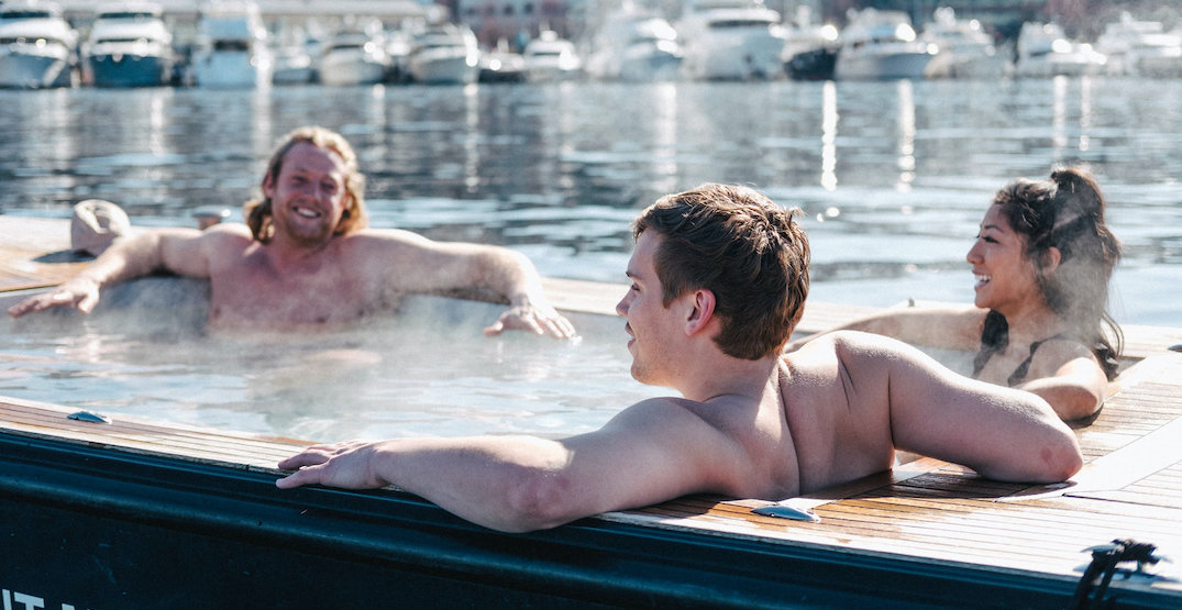 Float down Lake Union in a hot tub within a boat