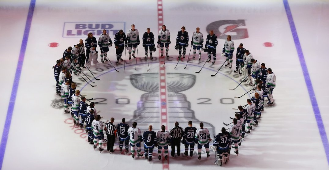Canucks and Jets stood together against racism before tonight's game