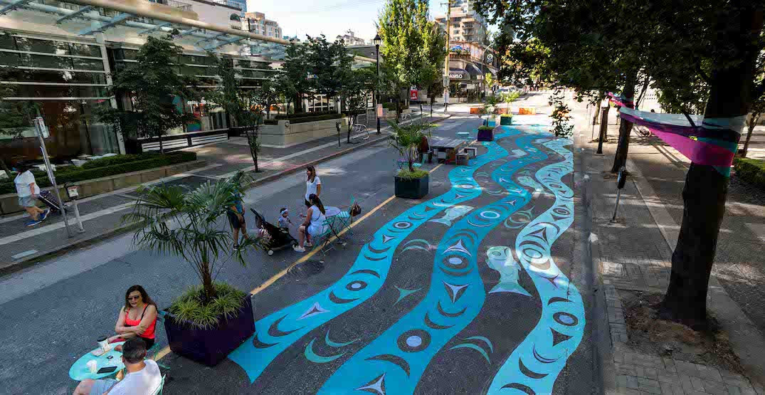 First Nations street mural at new Bute-Alberni pop-up plaza now complete (PHOTOS)