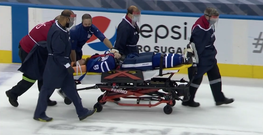 Leafs' Jake Muzzin leaves game on a stretcher with injury