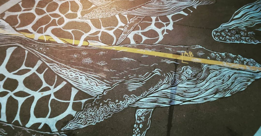 Montreal artist creates mural honouring the Old Port's whale (PHOTOS)