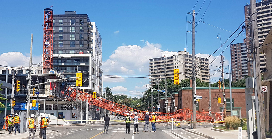 A stationary crane collapsed in Toronto's Regent Park neighbourhood