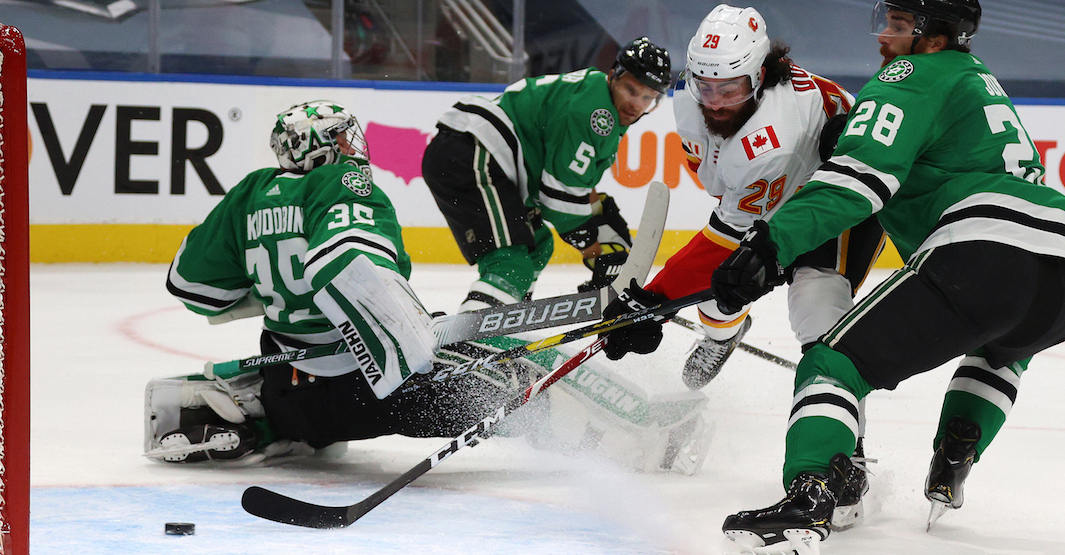 Dube scores twice for Flames in big win over Stars in Game 1