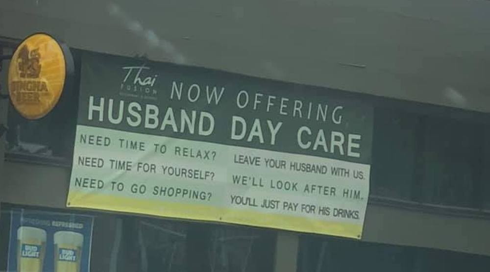 "Hilarious ""Husband Day Care"" sign spotted at Seattle restaurant (PHOTOS)"