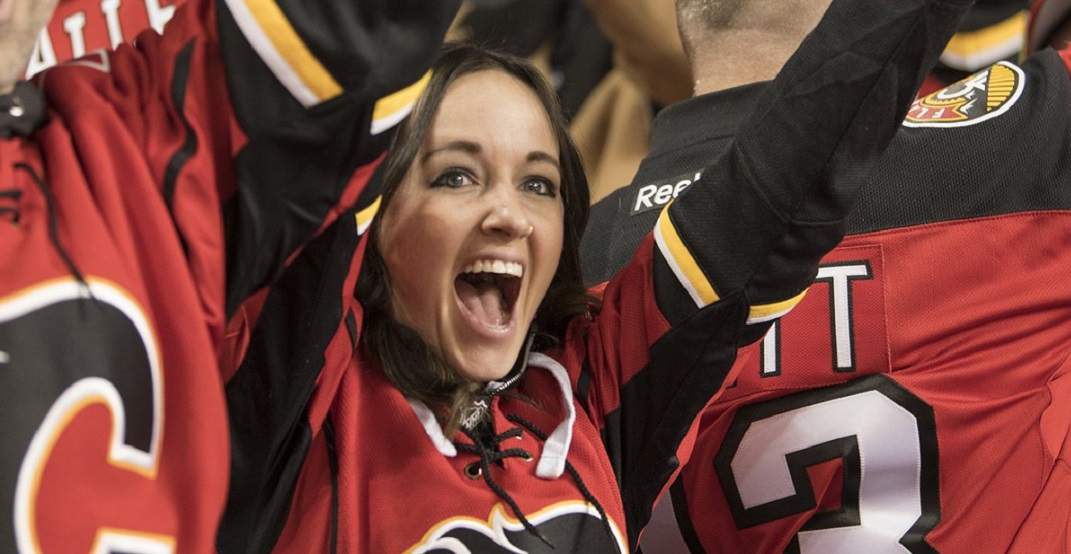 There's a drive-in Flames playoff game watch party in Calgary this weekend
