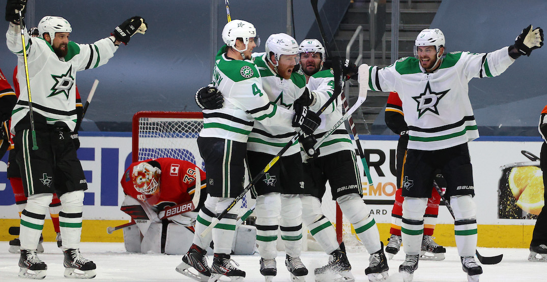 Flames blow late lead, lose to Stars in overtime in Game 4