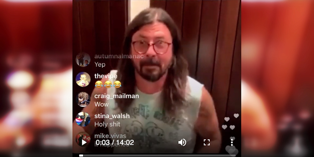 """Dave Grohl surprised fans by joining in on a """"Grohlathon"""" Instagram live (VIDEOS)"""