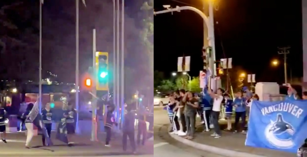 """Scott Road Cellies"" erupt with 700+ Canucks fans taking to the streets"
