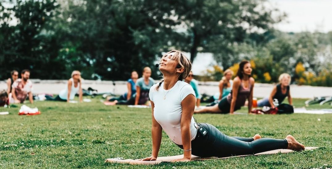 You can join FREE Yoga classes in Trillium Park on weekends