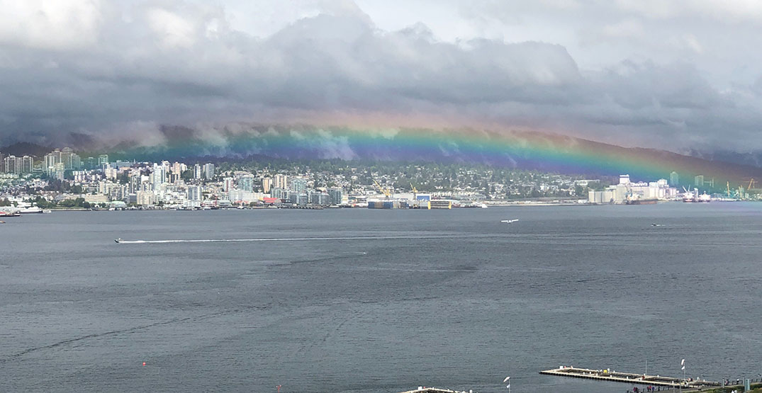 Rainbow beautifully frames Vancouver's North Shore