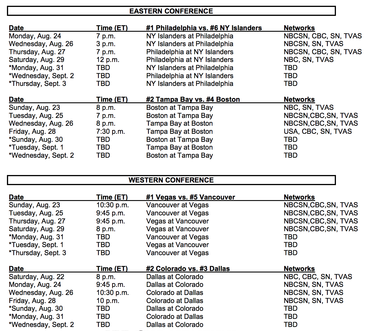 nhl-second-round-playoff-schedule