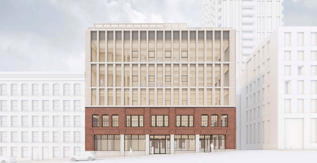 Mass timber office expansion for heritage building next to Terry Fox Plaza