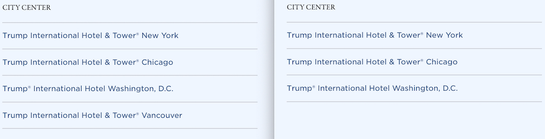 trump hotels global vancouver listing