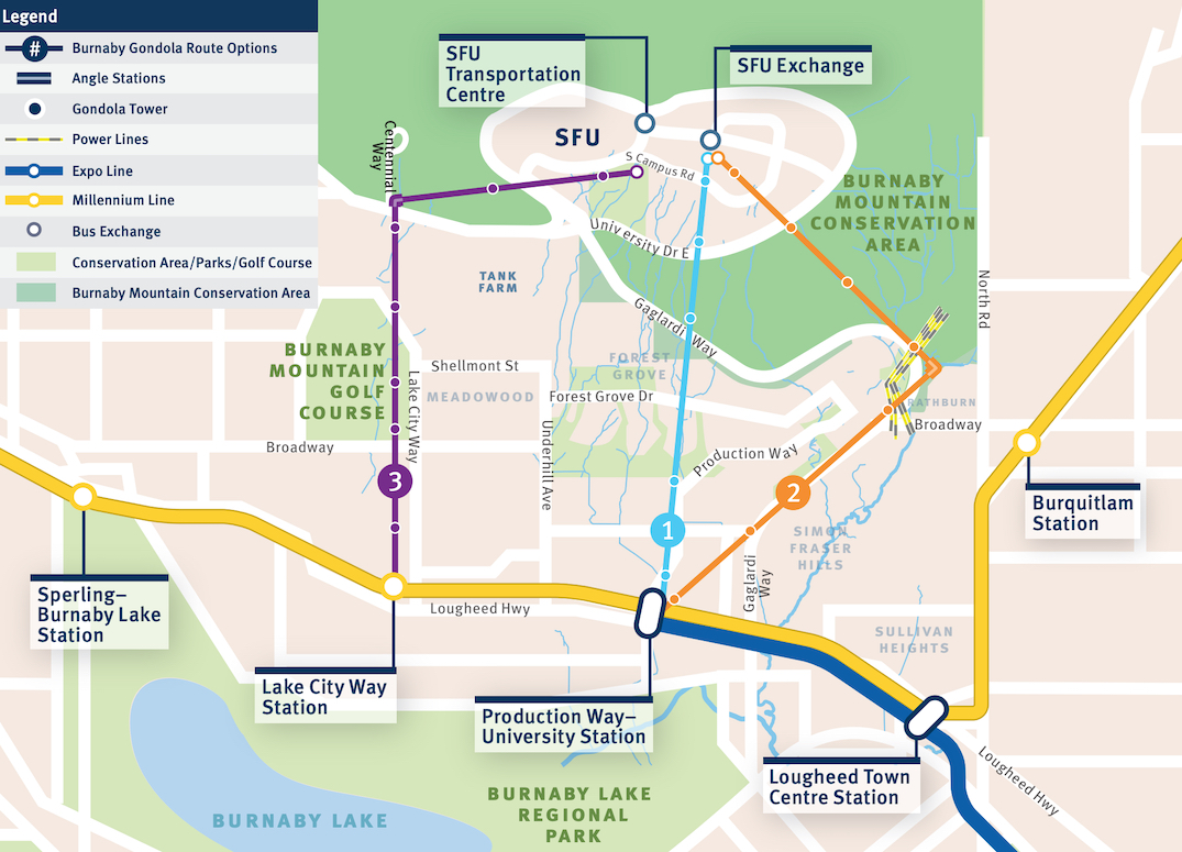sfu burnaby mountain gondola route options