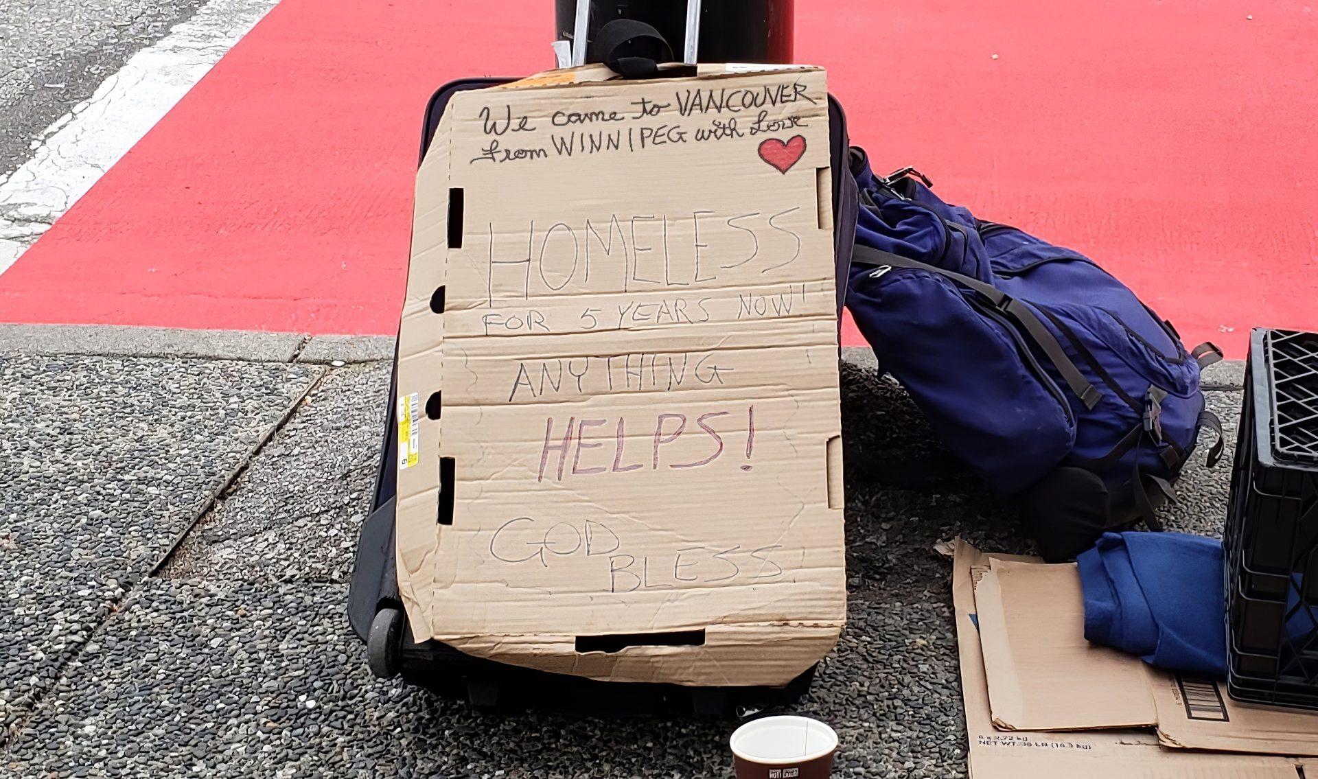 vancouver homeless winnipeg sign
