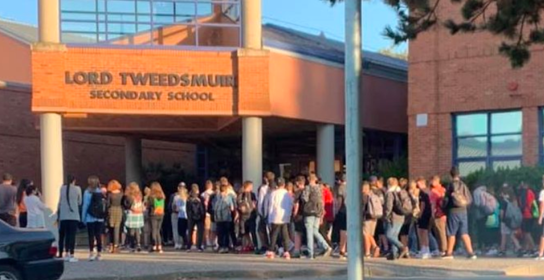 District responds to photo of large gathering of students outside Surrey school