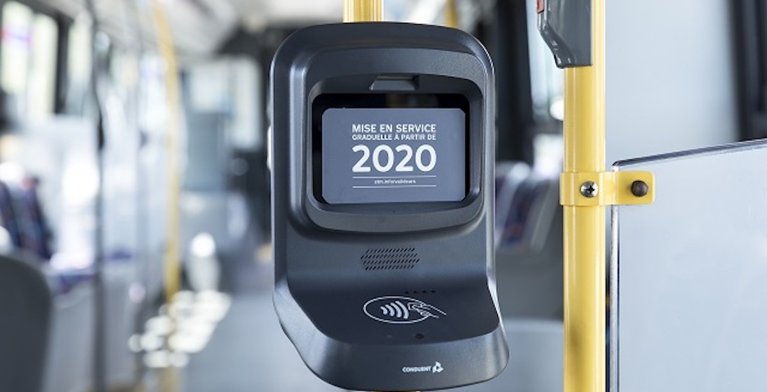 The STM is testing new OPUS card readers at the back of buses this week