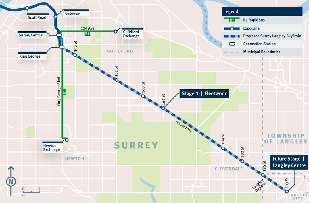 surrey langley skytrain route map stages