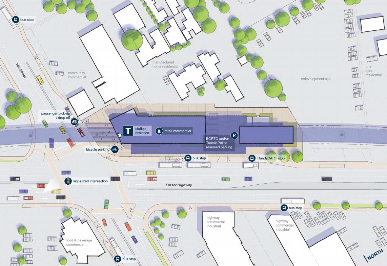 160 street station fraser highway surrey langley skytrain expo line