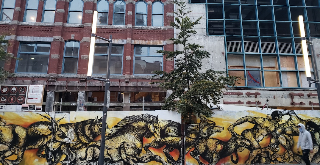 New mural at Cineplex Rec Room construction site in downtown Vancouver