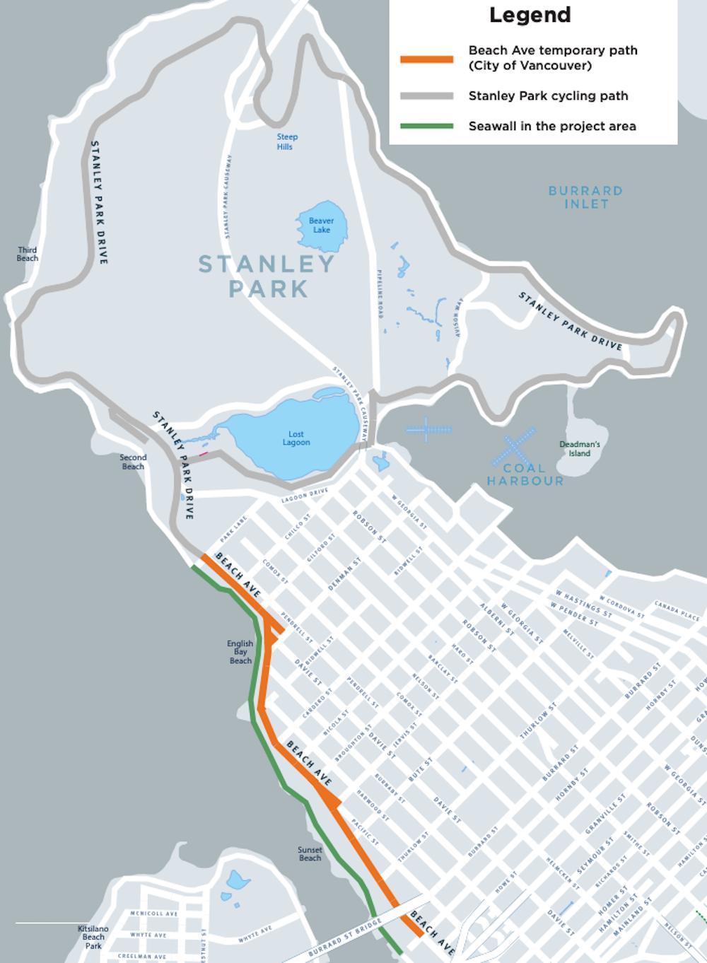 beach avenue bike lane map