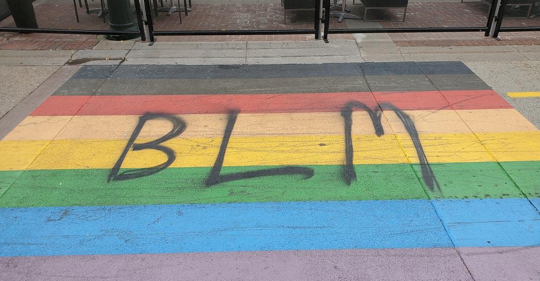 Calgary Pride to leave BLM graffiti on downtown rainbow crosswalk