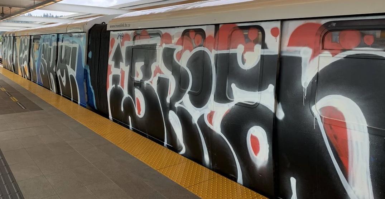 Police investigating extensive graffiti vandalism of SkyTrain cars