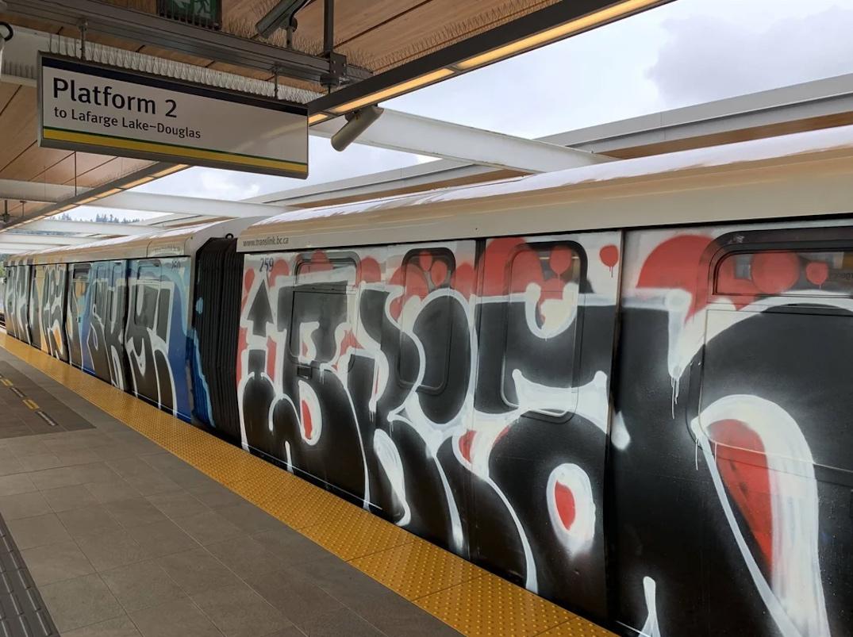 skytrain car vandalism graffiti
