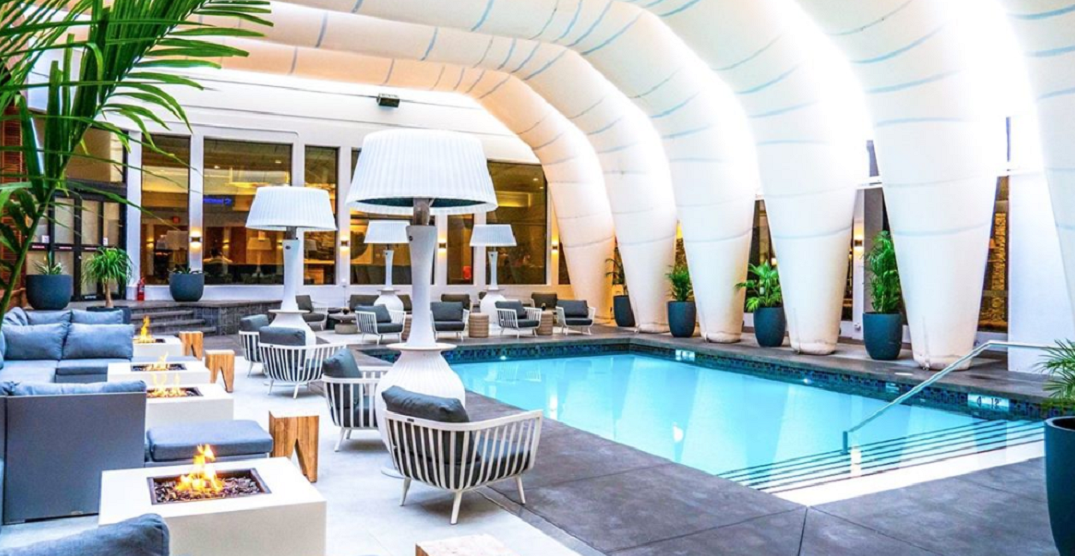 Hotel Arts' outdoor pool has begun winterizing for the colder seasons