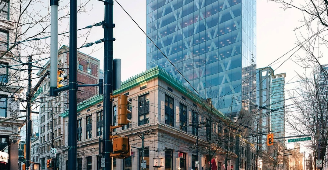 Iconic skinny 24-storey office tower proposed for Granville Street in downtown (RENDERINGS)