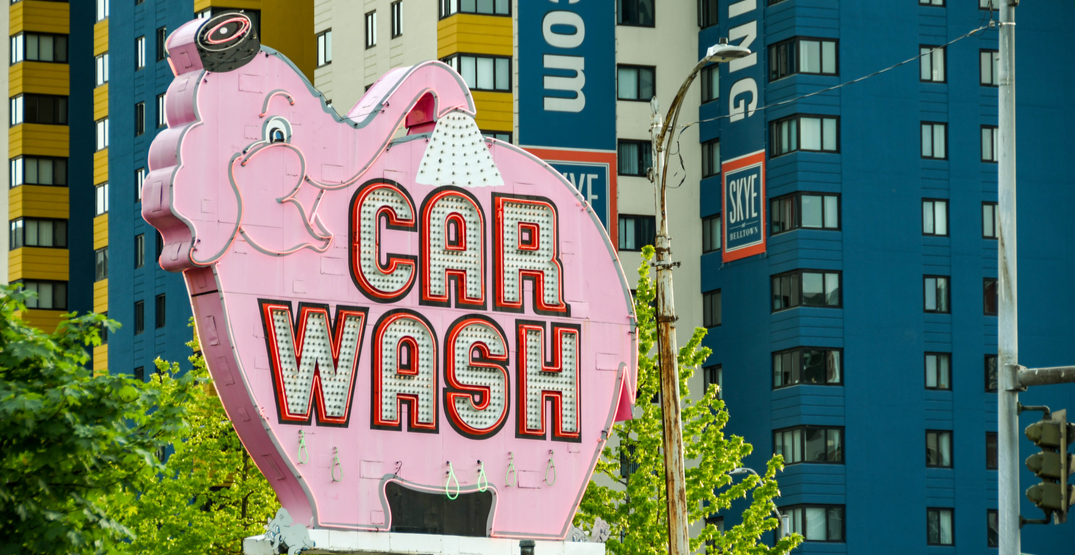 Downtown Seattle's Elephant Car Wash sign is getting a new home