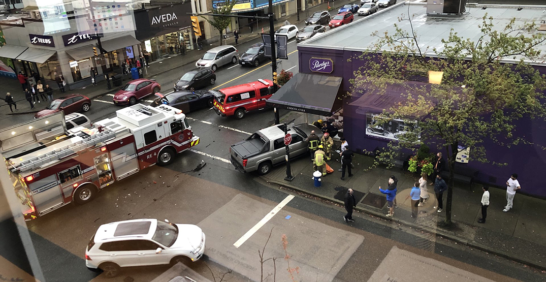 Pedestrian hurled through store window in Vancouver crash