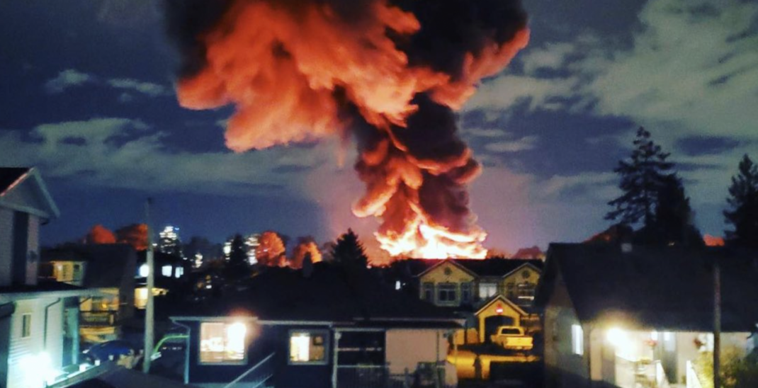 Emergency crews respond to large fire in New Westminster