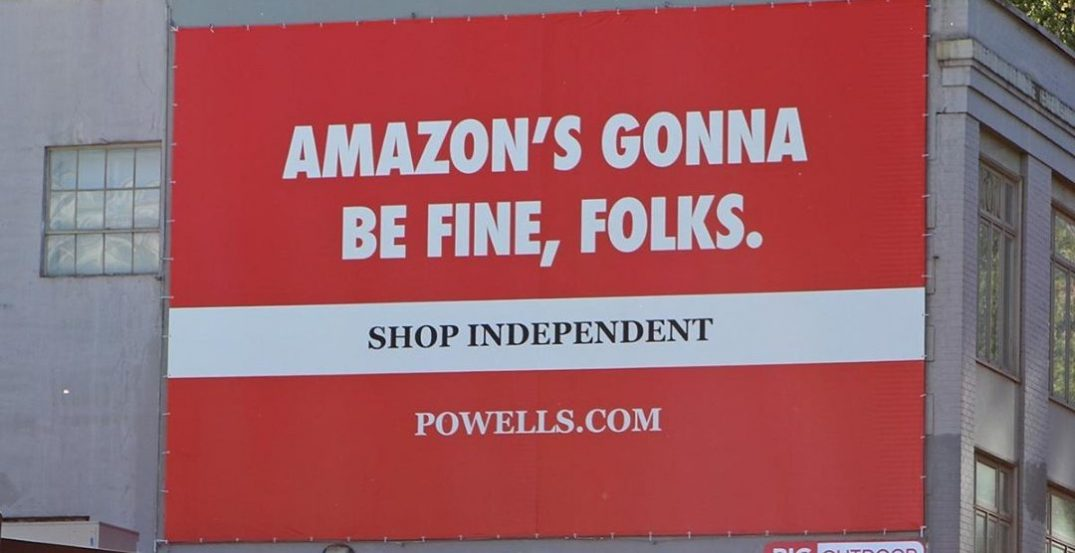 Powell's Books promotes shopping local in a new anti-Amazon billboard