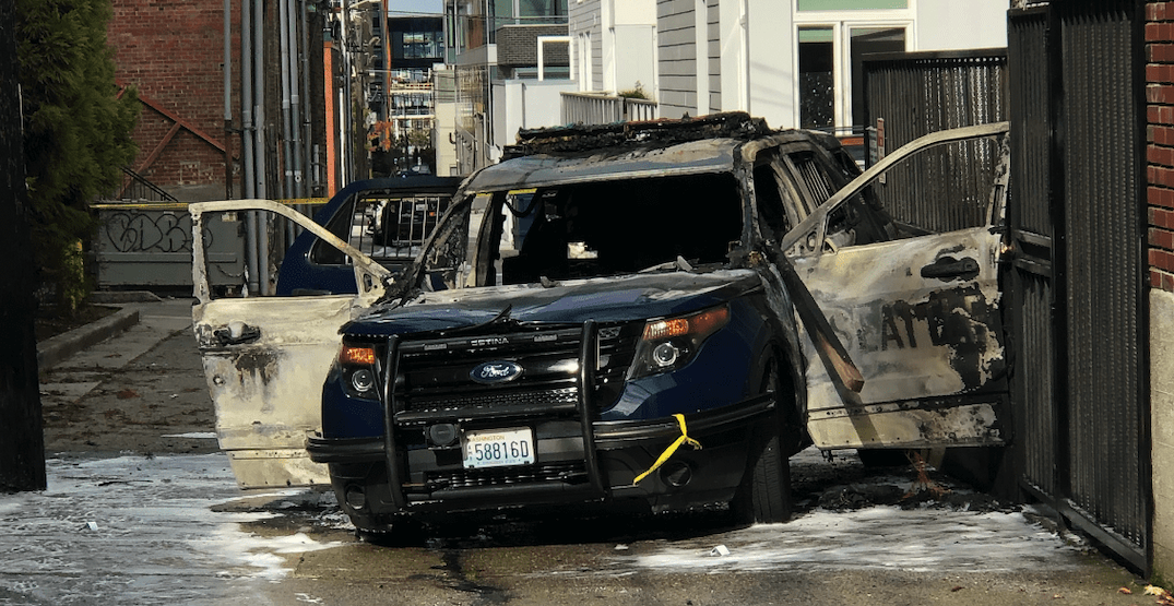 Video of man setting Seattle Police vehicle on fire released by SPD