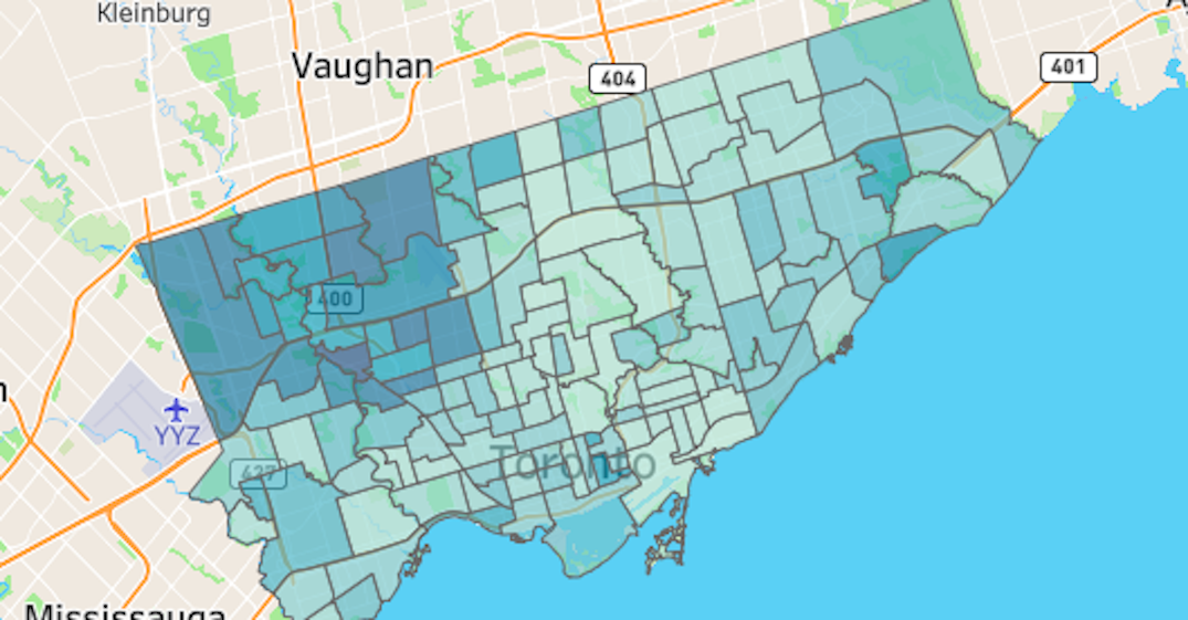 Toronto neighbourhoods with the highest and lowest coronavirus positivity rate