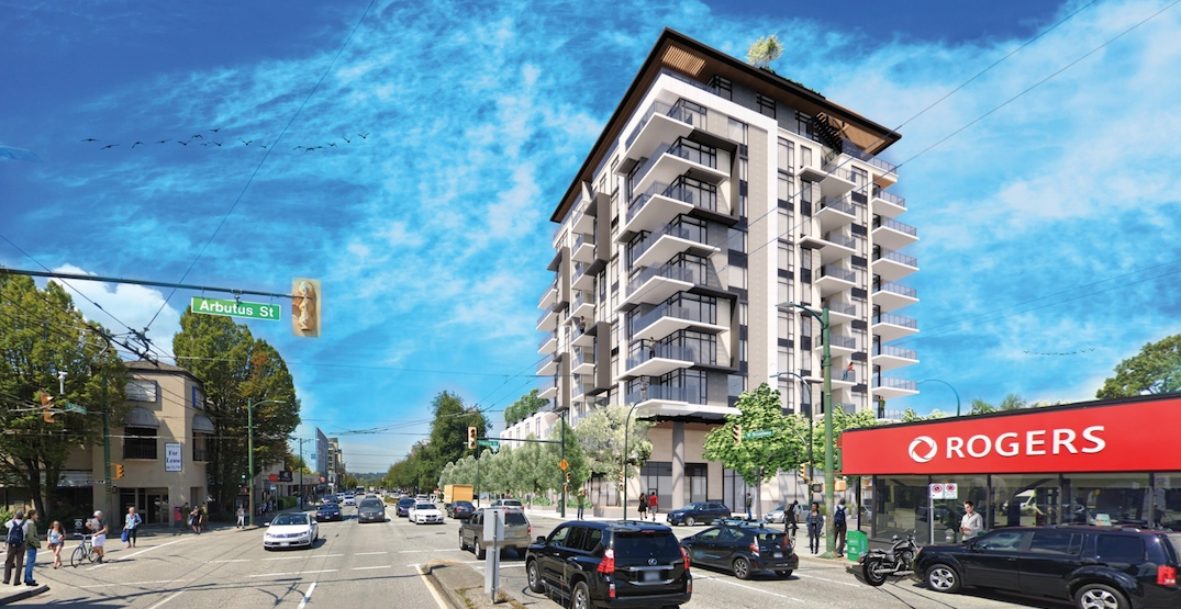 11-storey building proposed for gas station next to SkyTrain's future Arbutus Station