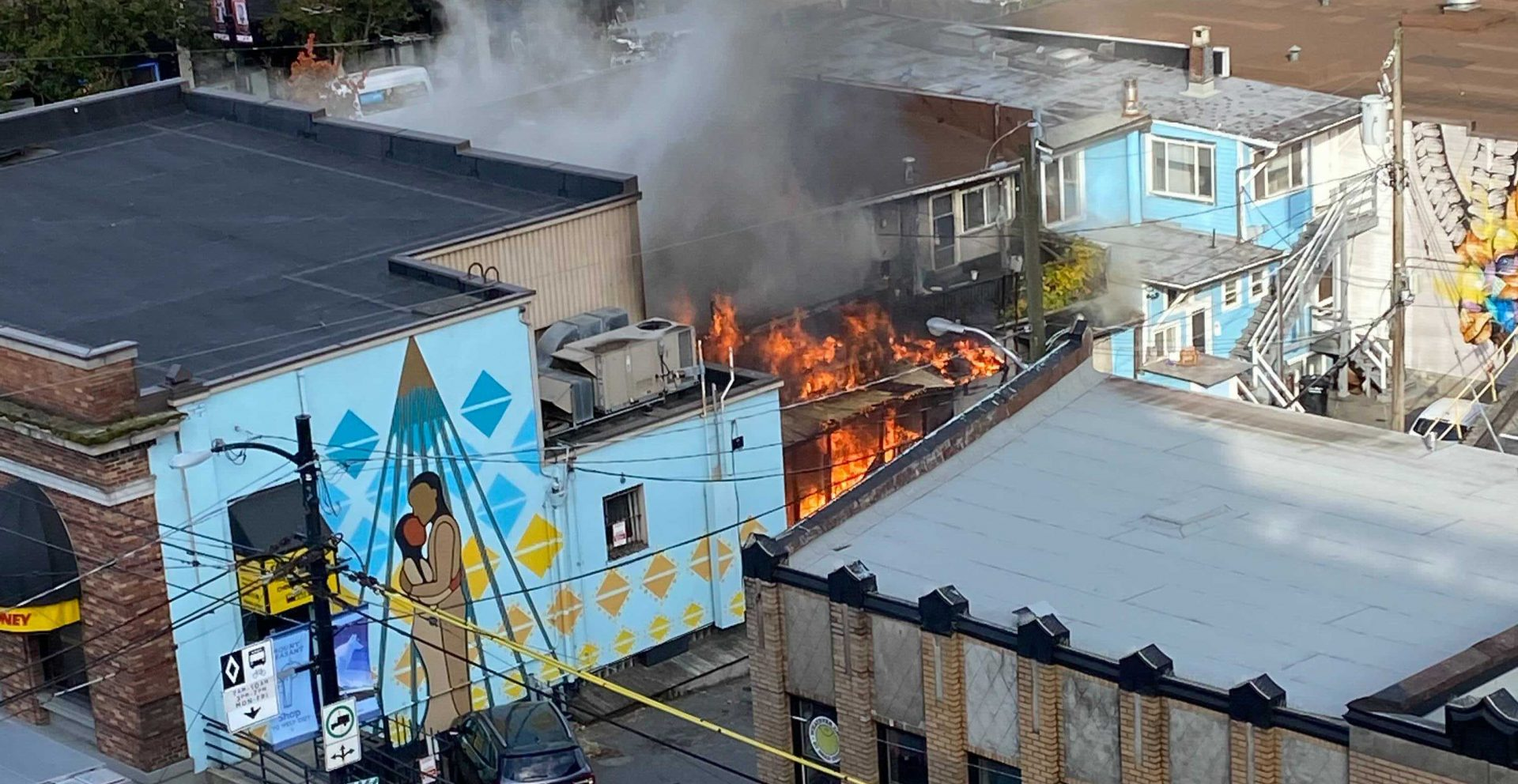 Vancouver fire crews battling three-alarm blaze on Broadway and Main Street (VIDEO)