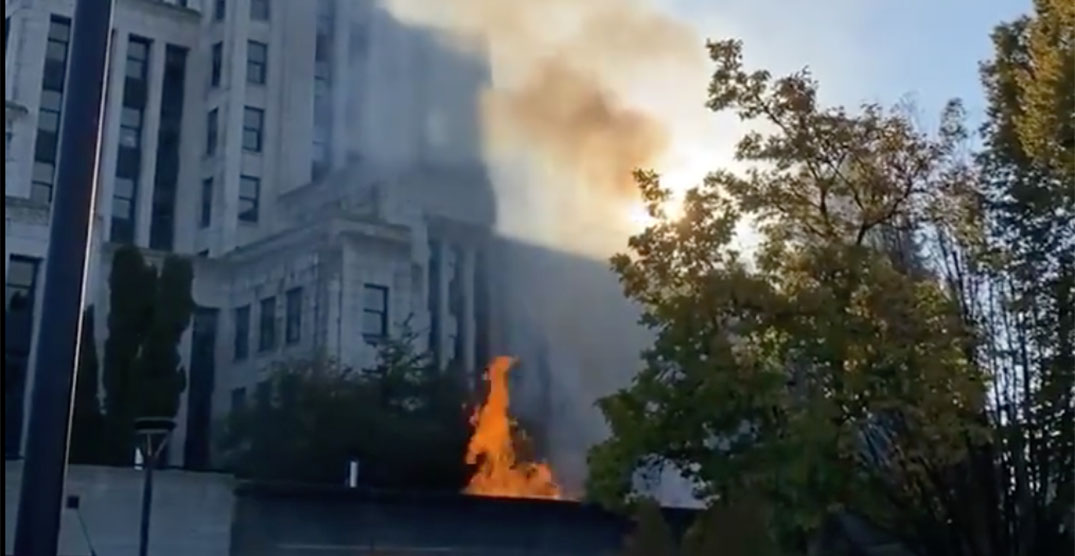 Car fire near City Hall emits column of smoke over Vancouver